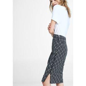 Cross Check High Waisted Midi Pencil Skirt